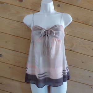 Theory Lotus Brown Ombre 100% Silk A-line Cami S